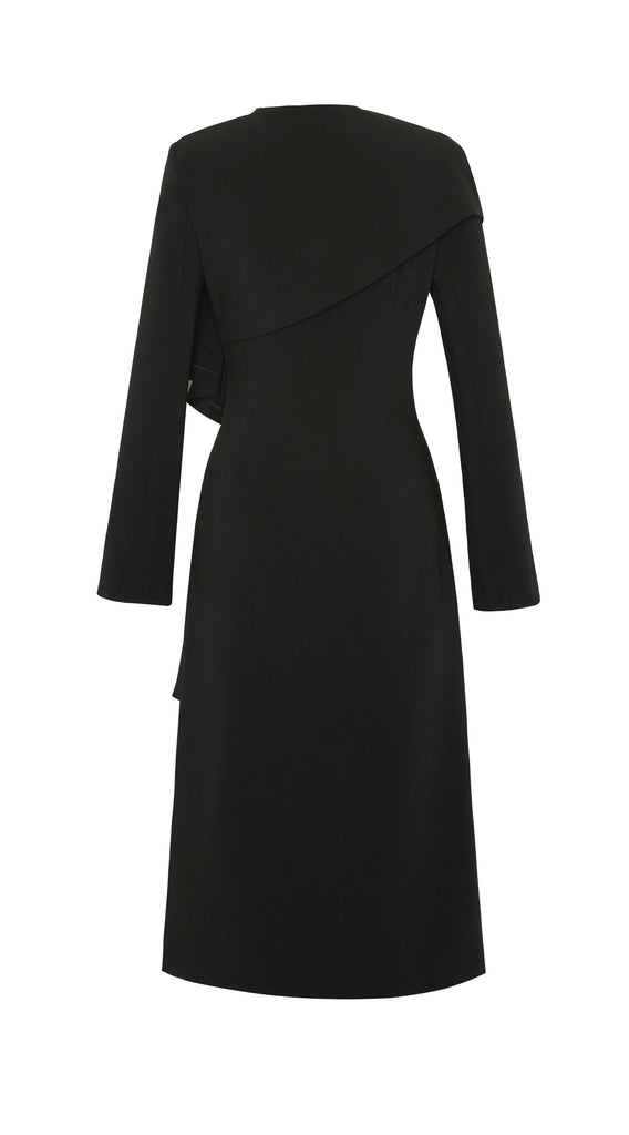 KERRY STRETCH CREPE DRAPED DRESS