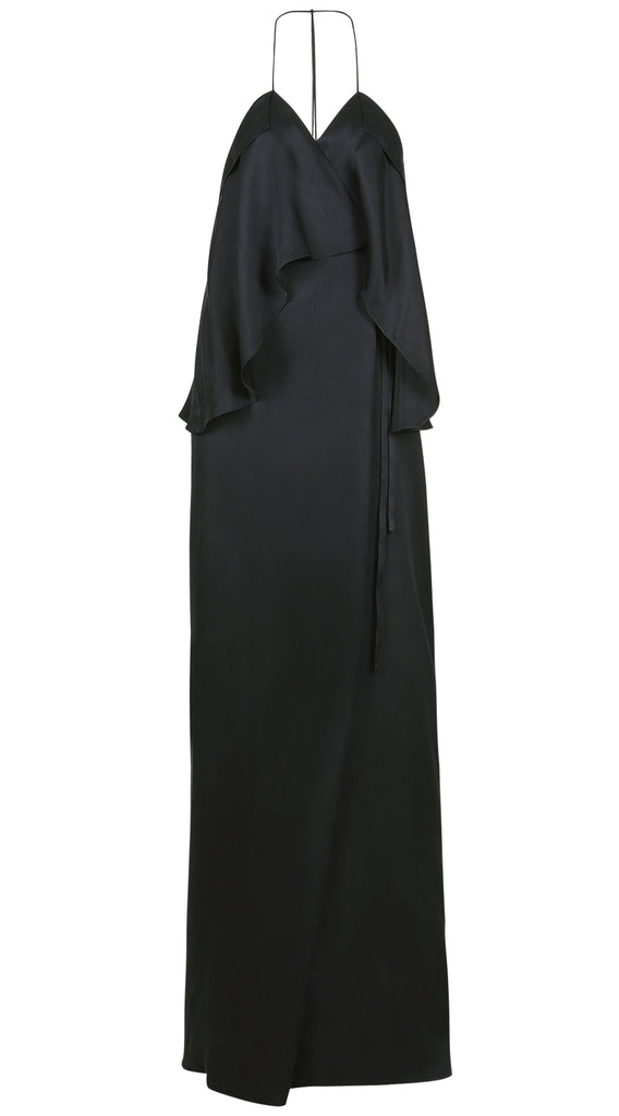 LIEVE MATTE SILK SATIN WRAP GOWN
