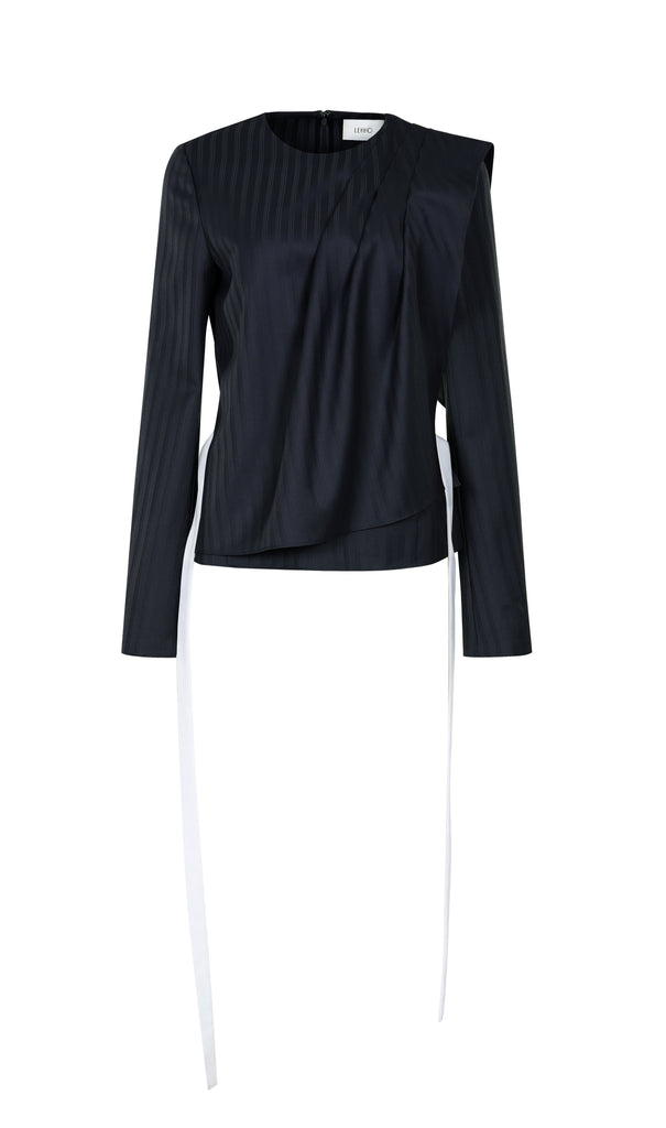 MONK STRIPED WOOL BLOUSE