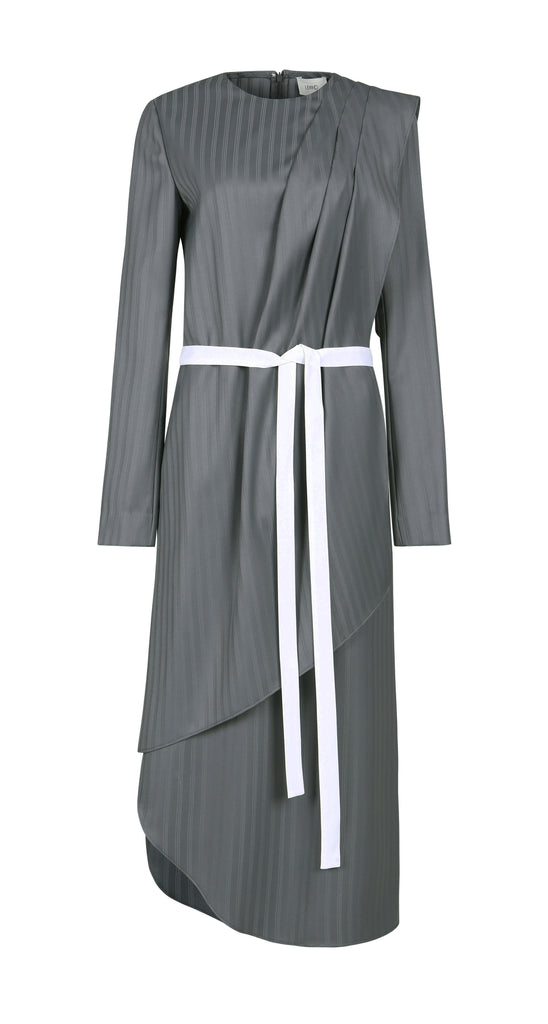 MONK STRIPED WOOL DRESS