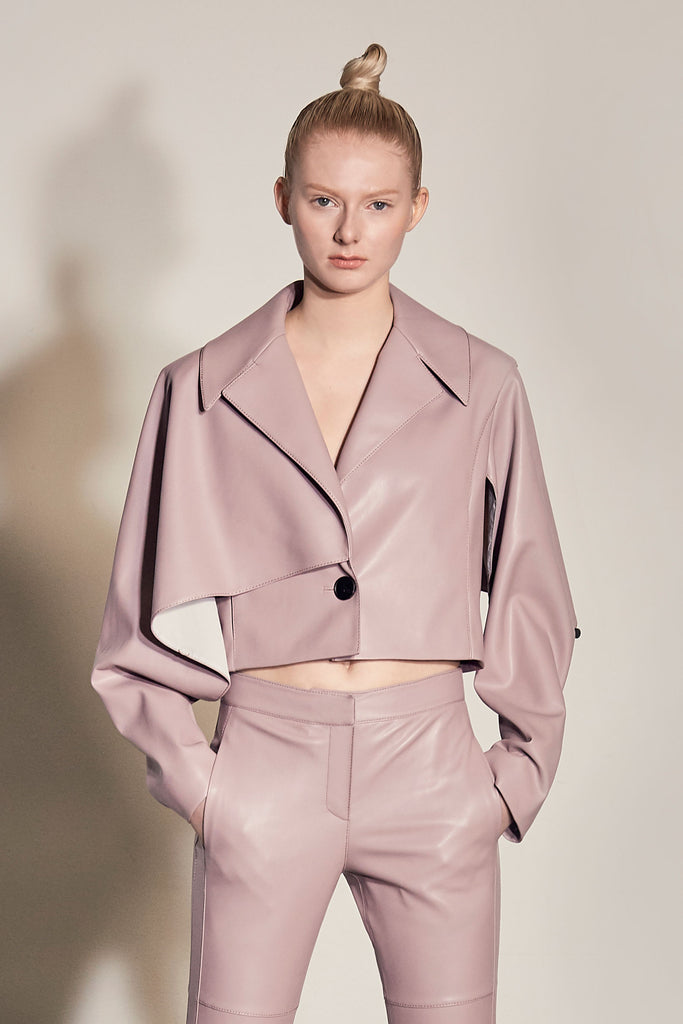 PIETRA VEGAN LEATHER CROPPED JACKET