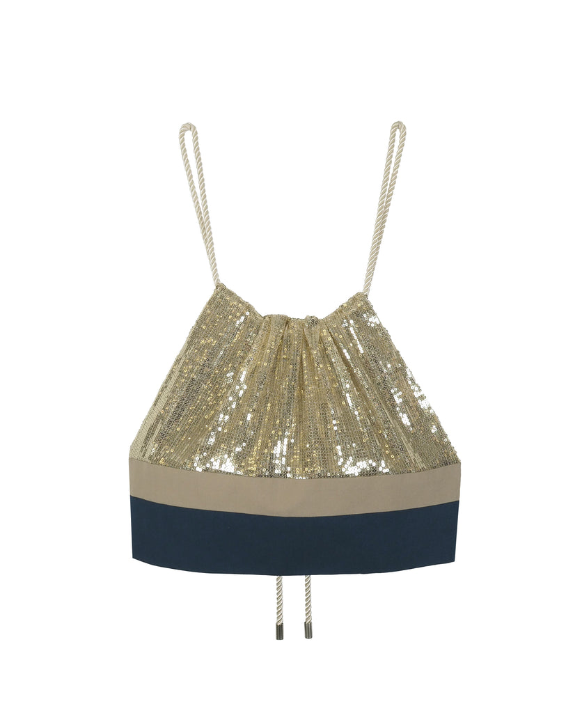 SEUTA SEQUINS DRAWSTRING CROPPED TOP