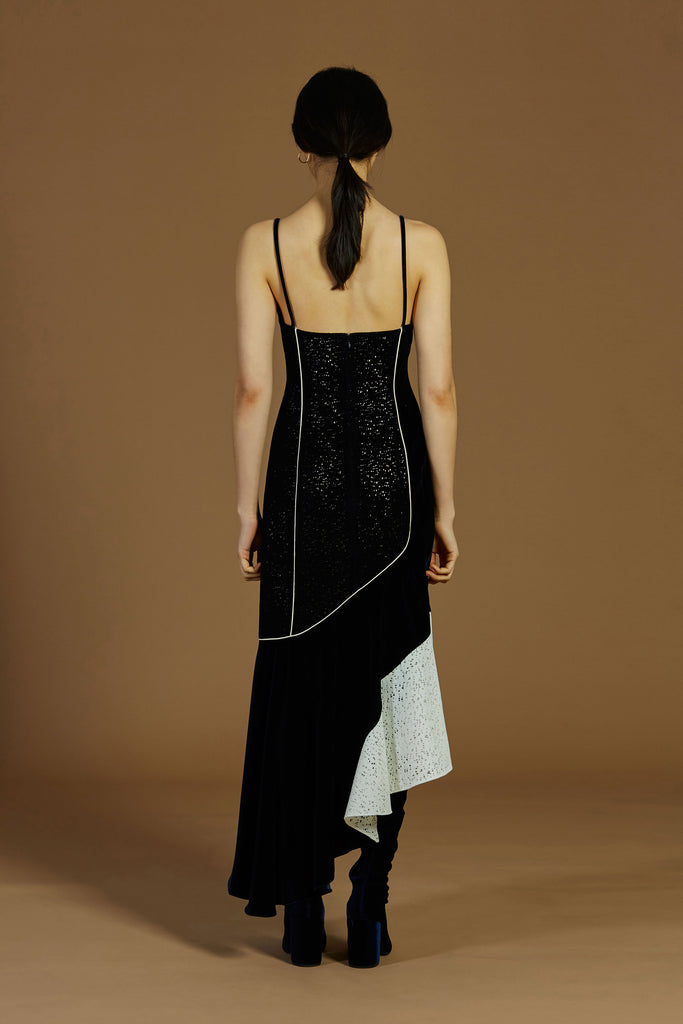 TATIANA CAMISOLE VELVET/LACE DRESS