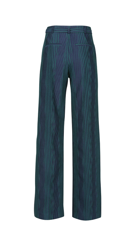 WOODBLOCK JACQUARD WIDE LEG PANT
