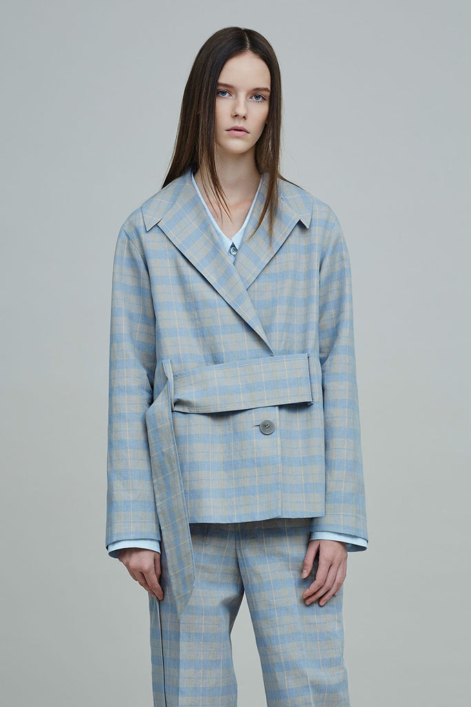RAMAL GLEN CHECK OVERSIZED JACKET