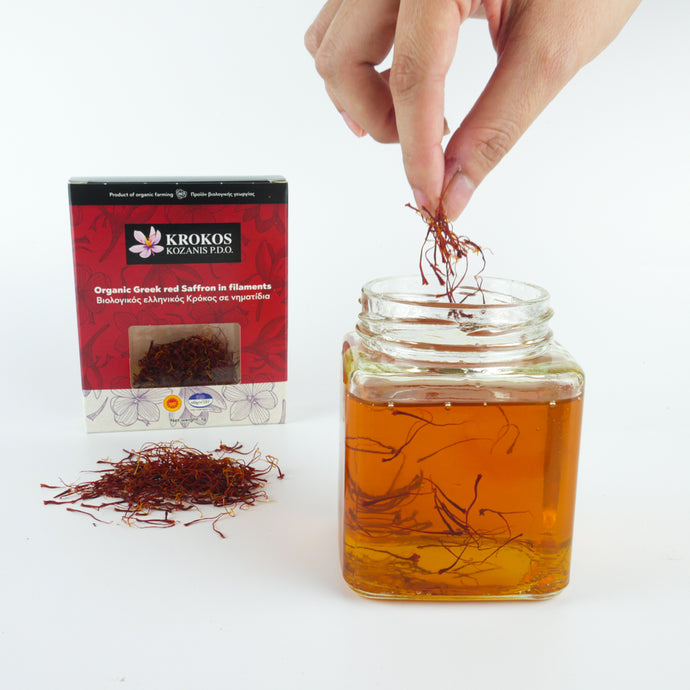 Organic Greek Red Saffron + Honey 375g