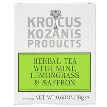Load image into Gallery viewer, Saffron Herbal Tea : Mint, Lemongrass & Greek Saffron (Caffeine-Free, Gluten-Free)
