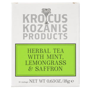 Saffron Herbal Tea : Mint, Lemongrass & Greek Saffron (Caffeine-Free, Gluten-Free)