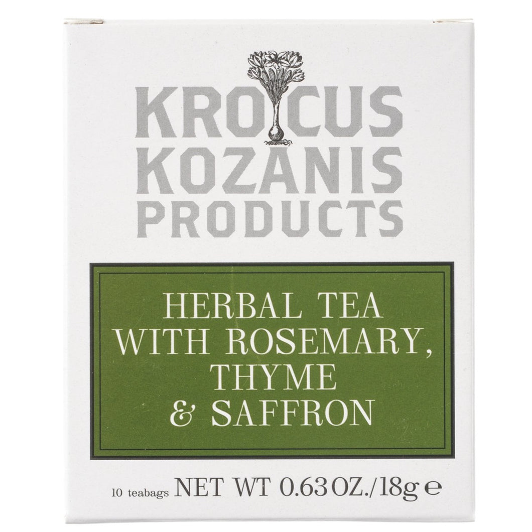Saffron Herbal Tea : Rosemary, Thyme & Greek Saffron (Caffeine-Free, Gluten-Free)