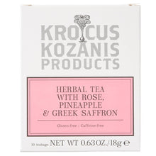 Load image into Gallery viewer, Krocus Kozanis Products, Herbal Tea with Rose, Pineapple & Greek Saffron (Caffeine-Free, Gluten-Free)