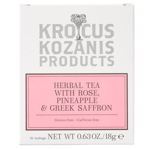 Saffron Herbal Tea : Rose, Pineapple & Greek Saffron (Caffeine-Free, Gluten-Free)