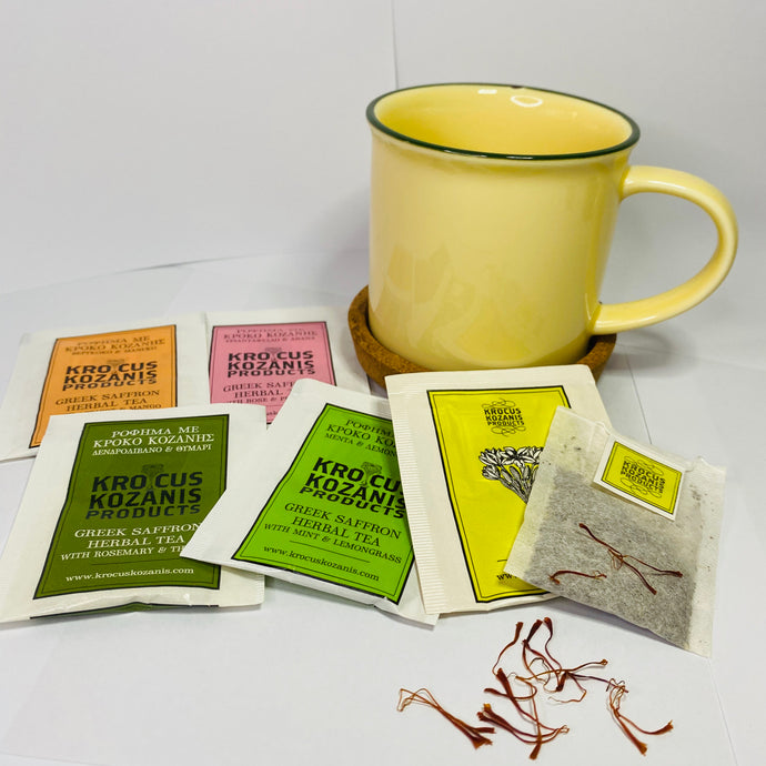 Ceramic Mug & 5 sachets assorted Greek Saffron tea