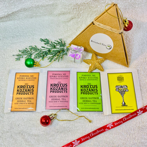 4 assorted Greek Saffron herbal tea in a pyramid box