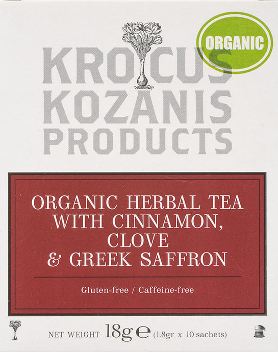 Organic Saffron Herbal Tea : Cinnamon, Clove & Greek Saffron Tea (Gluten-Free, Caffeine-Free)