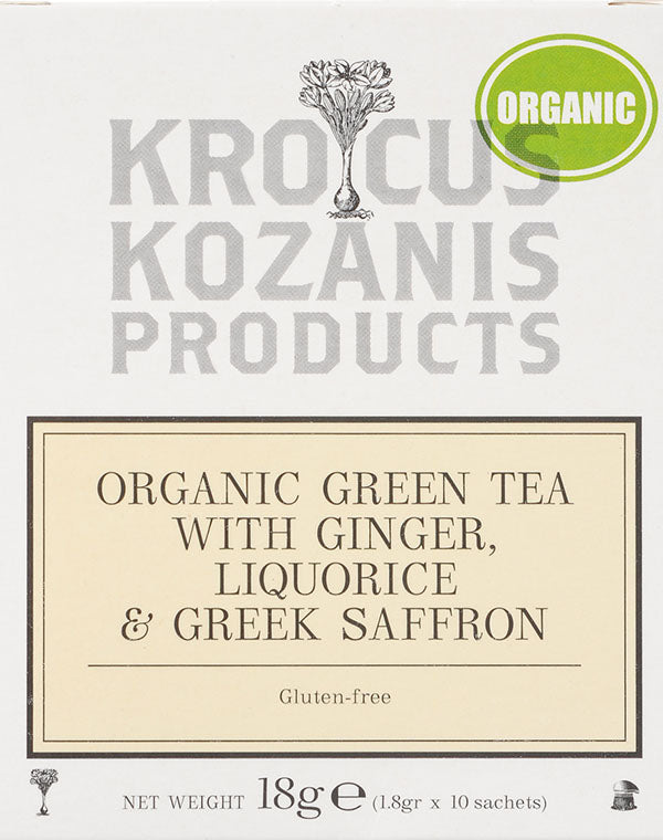 Organic Saffron Herbal Tea : Green Tea Ginger,  Liquorice & Greek Saffron Tea (Gluten-Free)