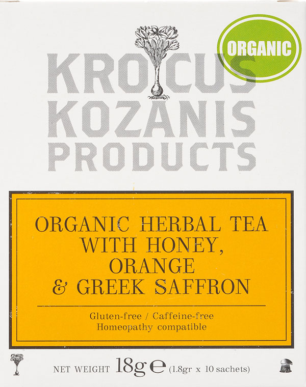 Organic Saffron Herbal Tea : Honey, Orange & Greek Saffron Tea (Caffeine-Free, Gluten-Free)