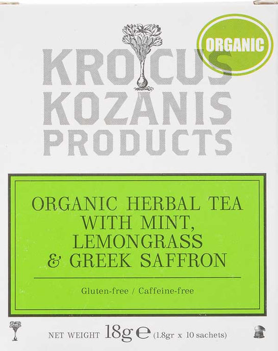Organic Saffron Herbal Tea : Mint, Lemongrass & Greek Saffron Tea (Caffeine-Free, Gluten-Free)