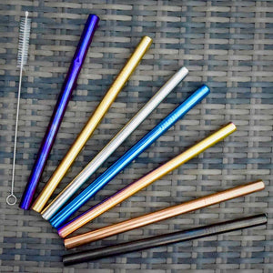 SMOOTHIE STRAWS: Reusable Stainless Steel Straws in 7 Colour Choices with Brush