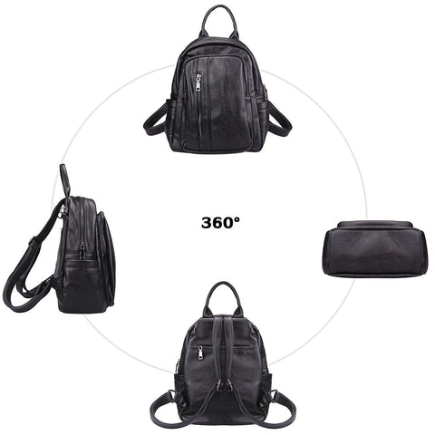 Fashion Faux Leather Anti-theft Backpack for Ladies School Bag - Katherleen