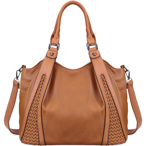 Women's Soft Faux Leather Tote Shoulder Bag - Katherleen