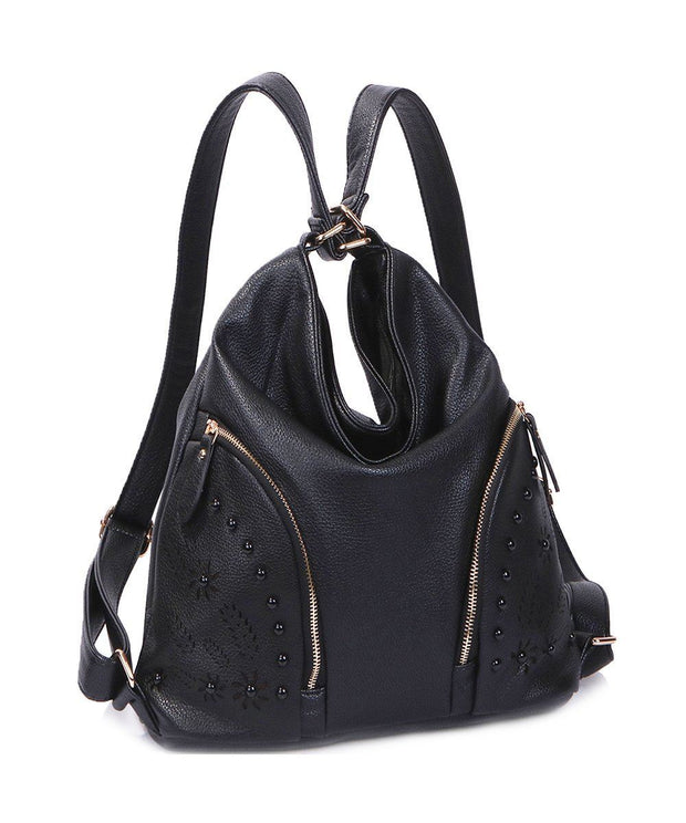 Women PU Leather Handbag Backpack Medium Size