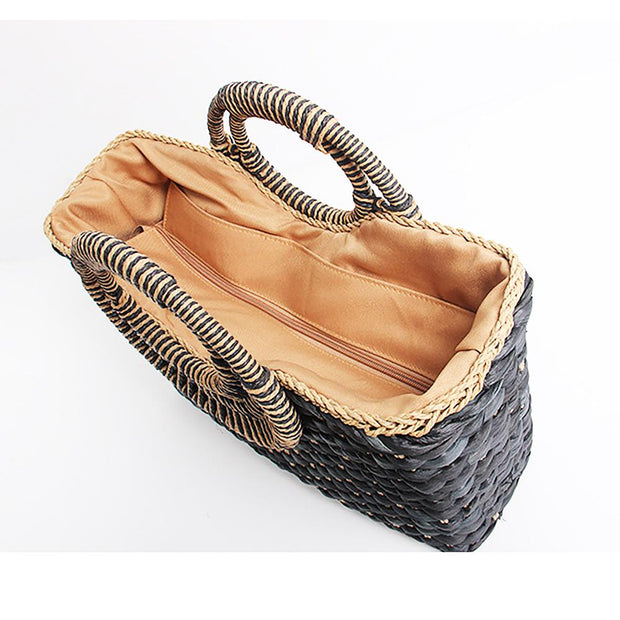 Women Straw Bag Handwoven Tote Summer Bag - Katherleen