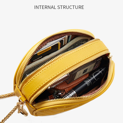 Small PU Leather Crossbody Bag with Metal Chain Strap for Women - Katherleen