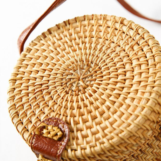 Handwoven Round Rattan Bag Shoulder Leather Straps - Katherleen