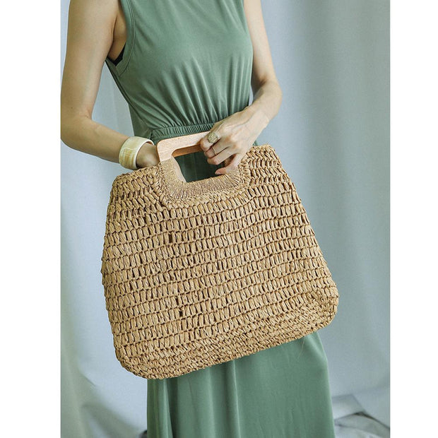 Women Weave Rattan Shoulder Bag Summer Beach Tote - Katherleen