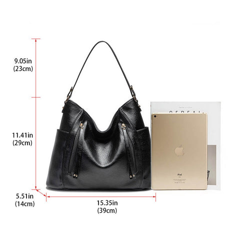 Multi-Pocket Women Shoulder Bag with Tassel
