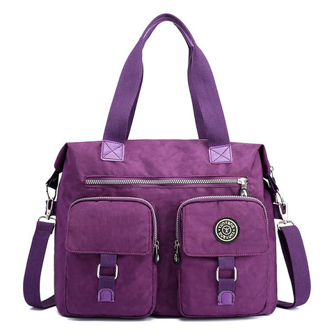Womens Multi Pocket Nylon Big Shoulder Bag Handbag