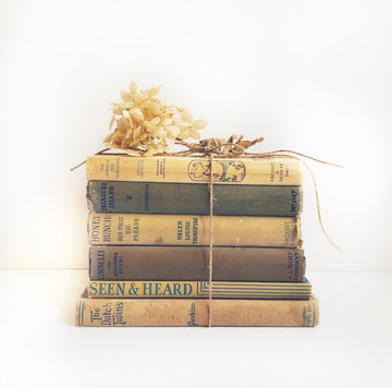 Vintage Children's Book Stack in Neutral Muted Colors