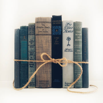 Vintage Decorative Blue Stack, Included in Stack is Jane Austen Works & Jane Eyre