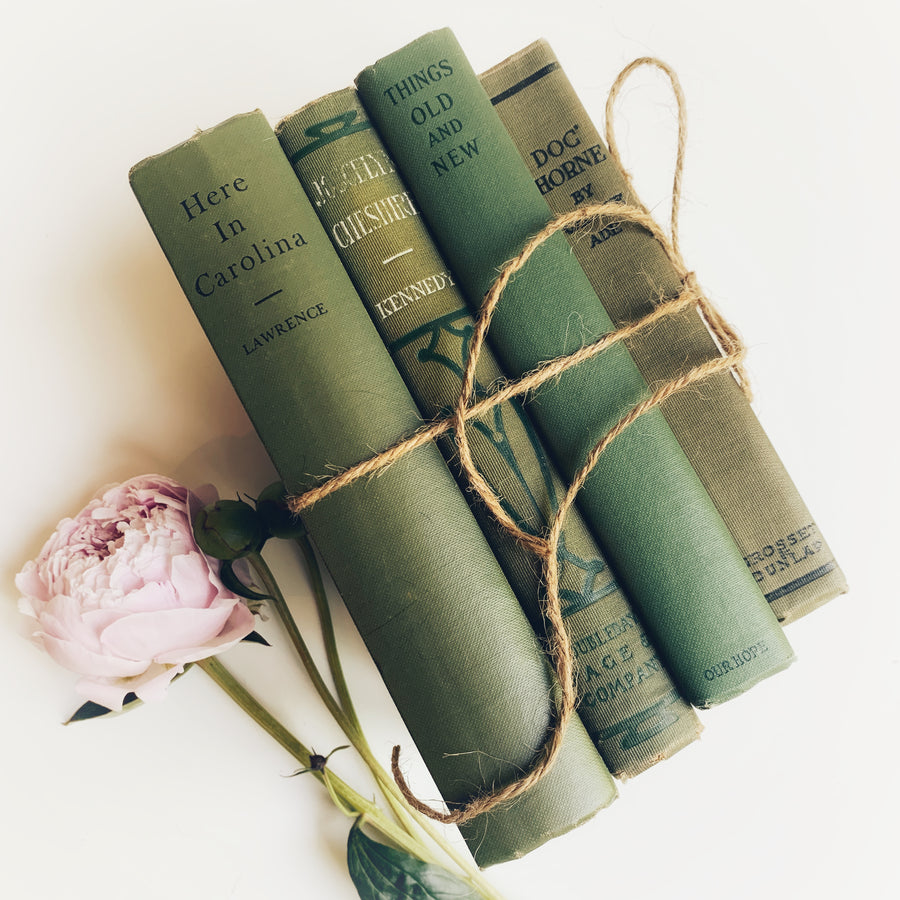 Vintage Green Book Stack