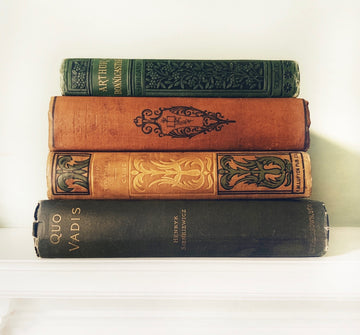 Decorative Book Stack in Earthy Greens, Golds & Golden Brown