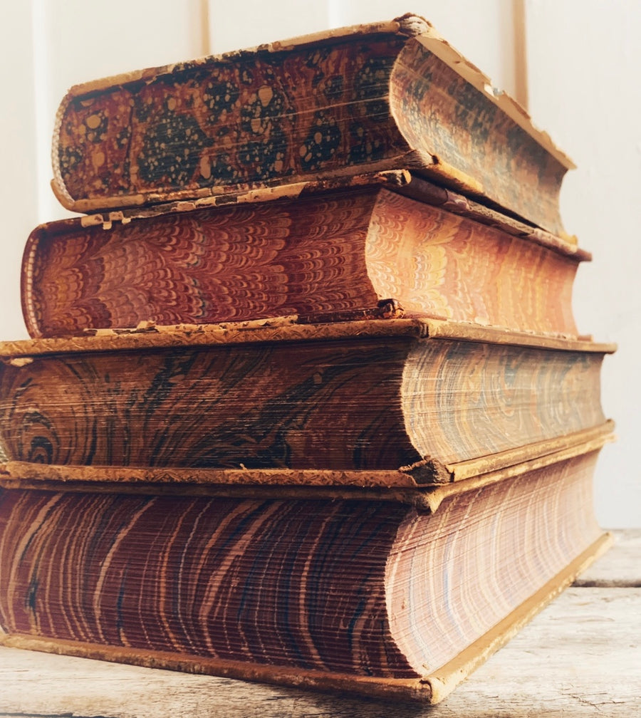 Distressed Leather Books with Marbled Edges