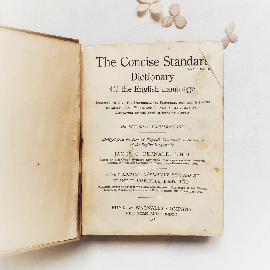 1937, Funk & Wagnalls Concise Standard Dictionary of the English language
