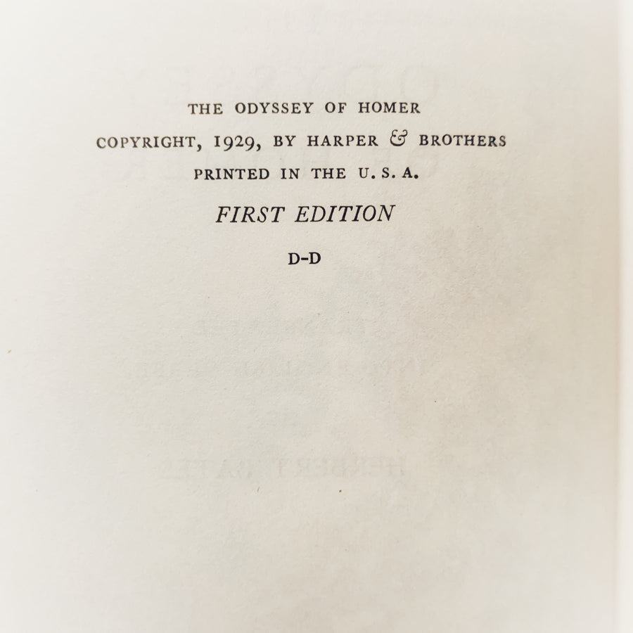 1929- The Odyssey of Homer, First Edition