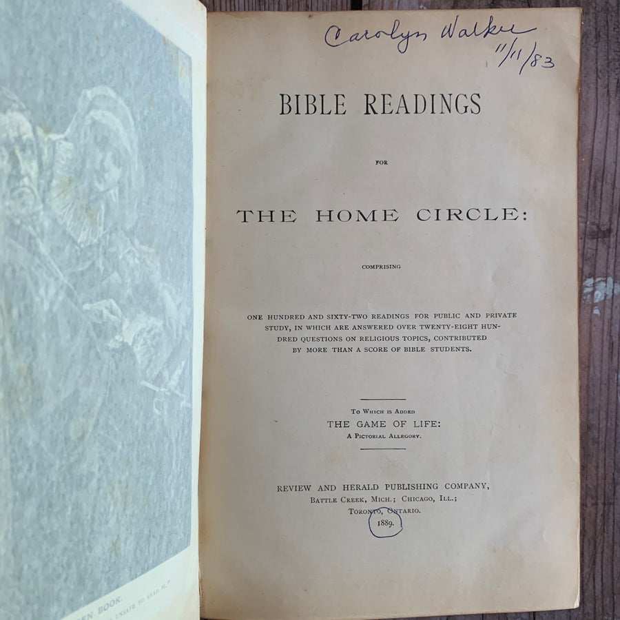 1889 - Distressed Leather Bible Readings For the Home Circle