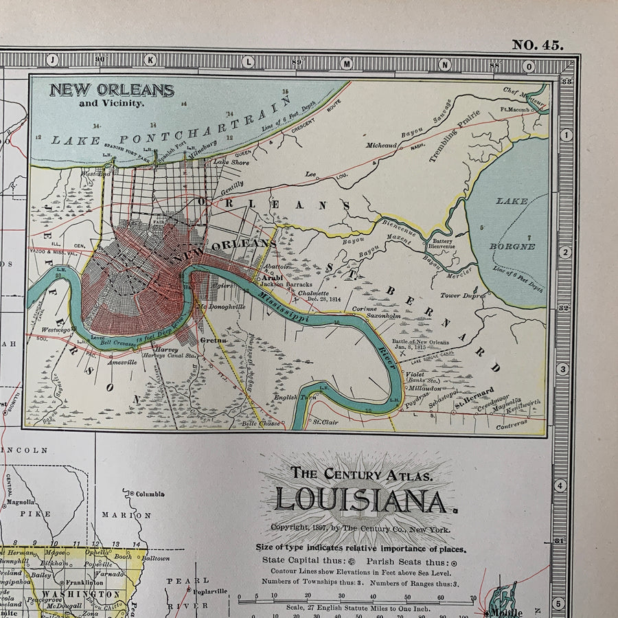 1897 Louisiana Map – Original Lithograph