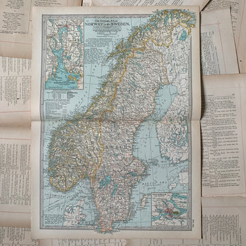1897 Norway and Sweden Map – Original Lithograph