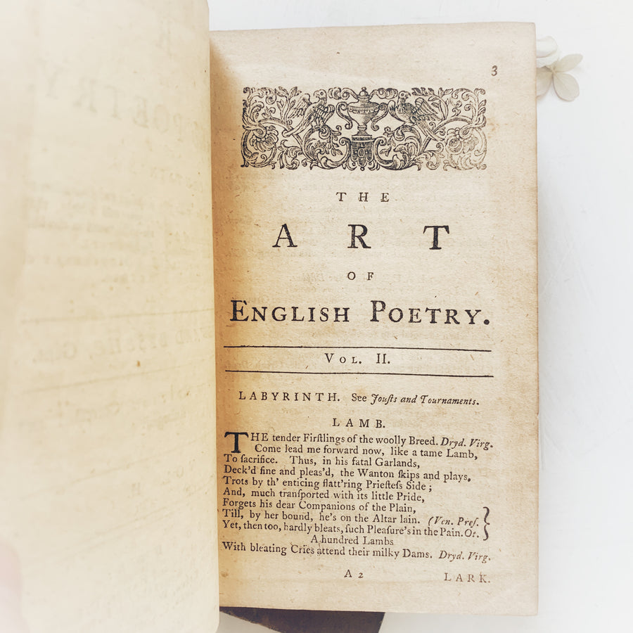 *** RESERVED*** 1762 The Art of English Poetry – Edward Bysshe
