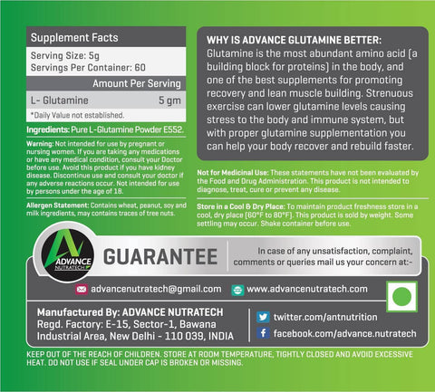 Advance Glutamine Powder Medium Packs