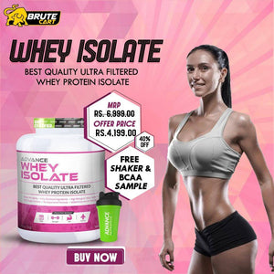 Whey Isolate 90% Protein Vanilla Flavored Powder 1.8kg & Sample of BCAA 2:1:1 Watermelon  With Free Shaker