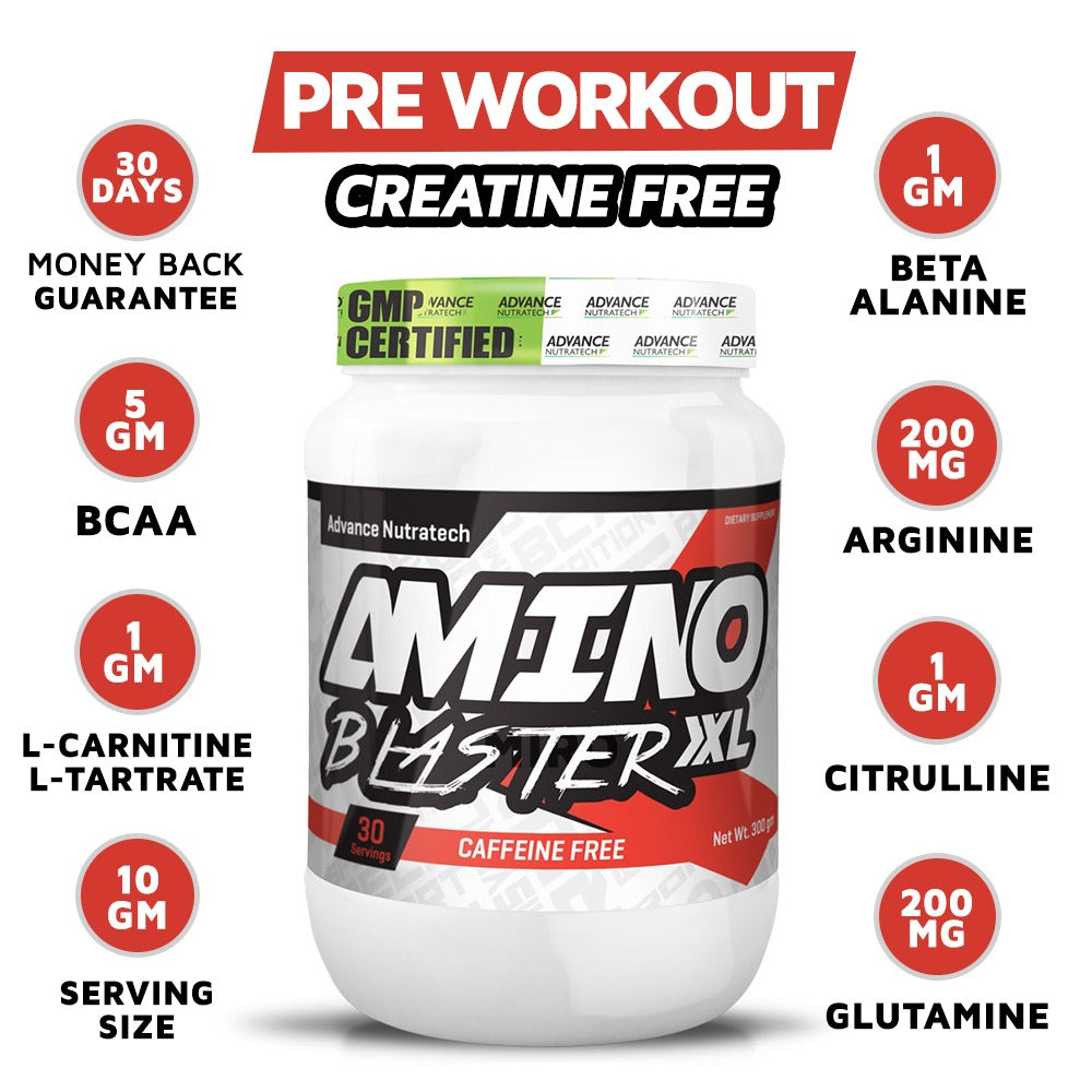 Advance Nutratech Pre Workout Energy drink Caffeine Free - 300 g (fruit punch) (30 servings) (Elevate Focus, Boosts Energy, Enhanced Performance)