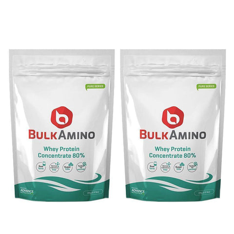 Image of Advance Nutratech Bulkamino Whey Protein Concentrate 80 % Raw Protein 1Kg (Buy One Get One Free) - Brutecart