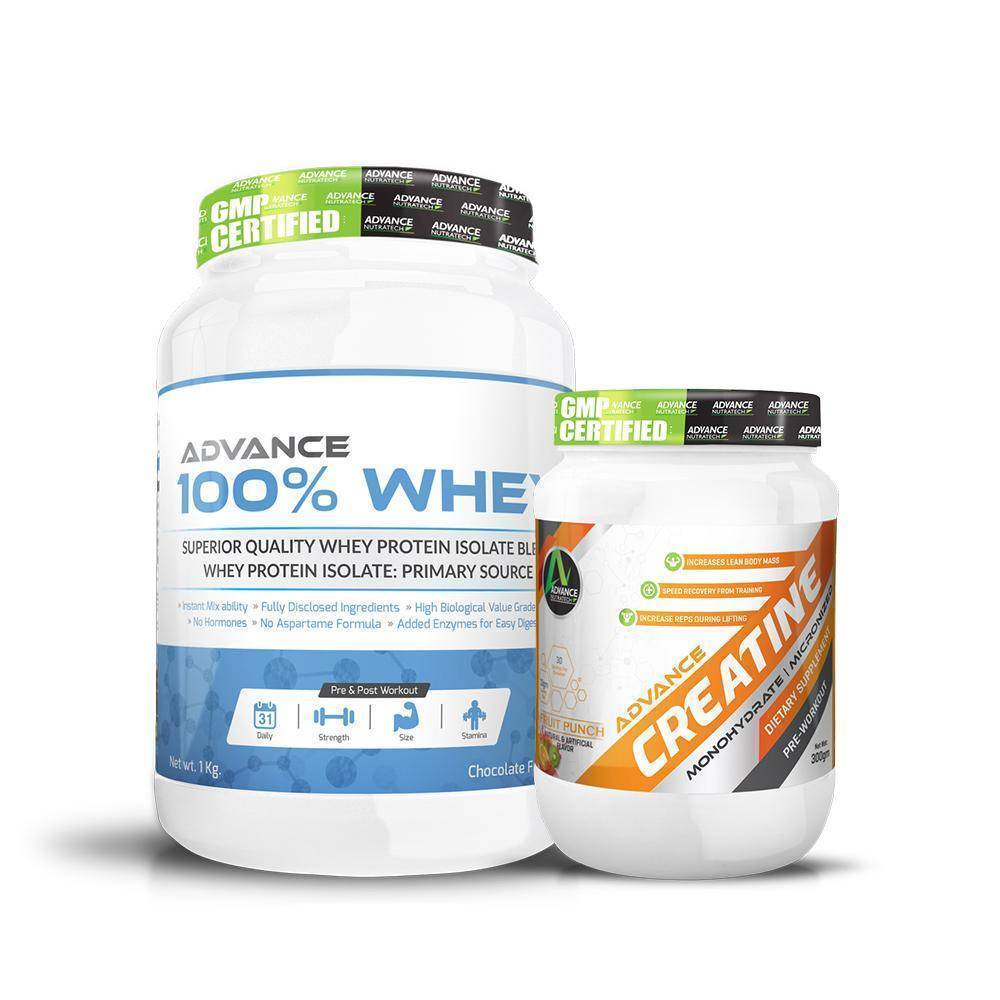 100% whey Protein Chocolate Powder 1kg and Creatine Fruit-Punch flavored 300 g (Power Couple Offer)