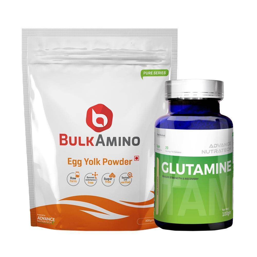 Advance Combo of Bulkamino Egg Yolk 300g & Glutamine UnFlavor Powder 100g - Brutecart