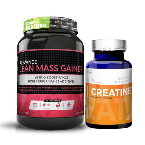 Image of Advance Combo of Lean Mass Gainer Banana 2 LBS & Creatine Unflavor Powder 100Gm - Brutecart