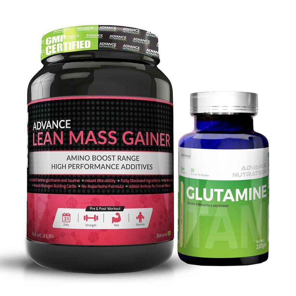 Advance Combo of Lean Mass Gainer Banana 2 LBS & Glutamine Unflavor Powder 100Gm - Brutecart
